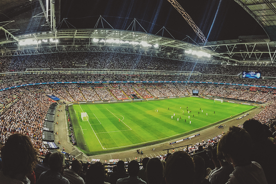 Inside Wembley stadium during night time game