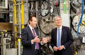 Ian Chapman provides the Chancellor with a tour of fusion facilities at Culham