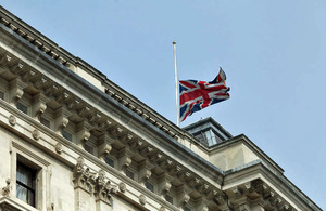Flag at half-mast at the FCO's main offices in London