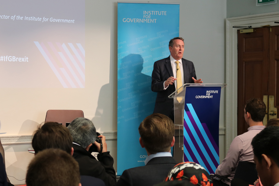 Dr Liam Fox speaks at the Institute for Government