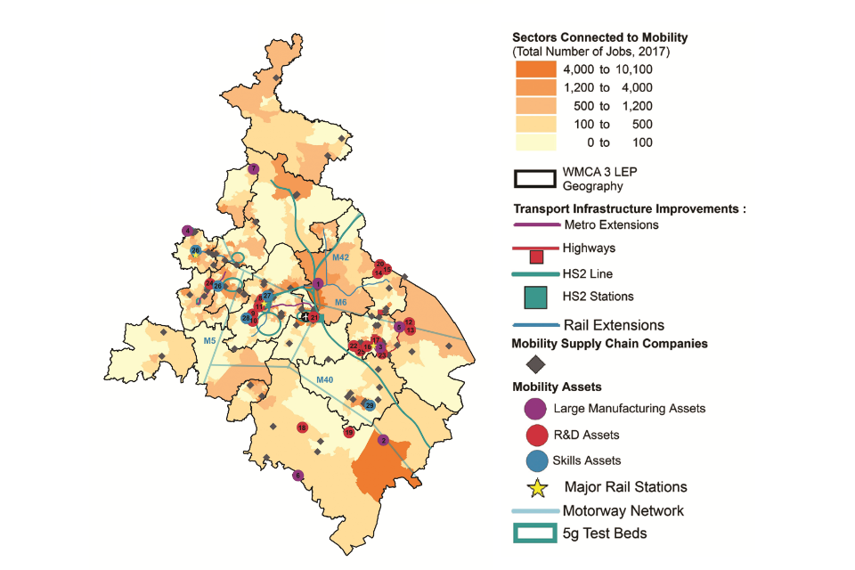 Map of the West Midlands showing the spatial distribution of assets for the Future of Mobility. (Details in the table below).