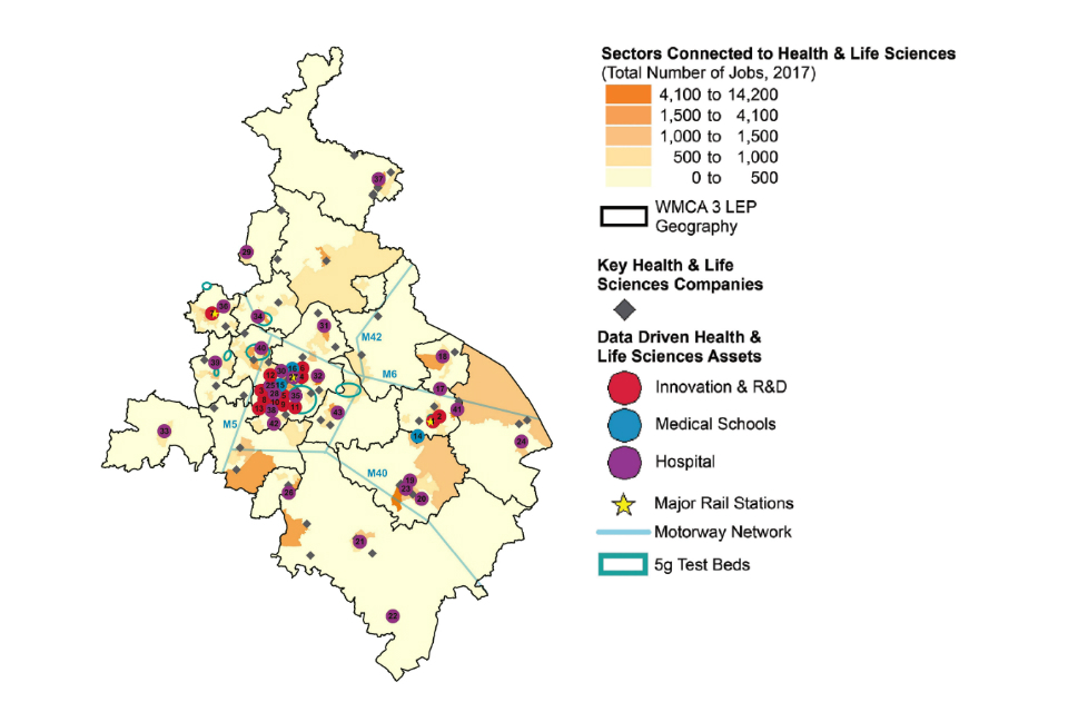 Map of the West Midlands showing the spatial distribution of assets for Data driven healthcare innovation. (Details in the table below).