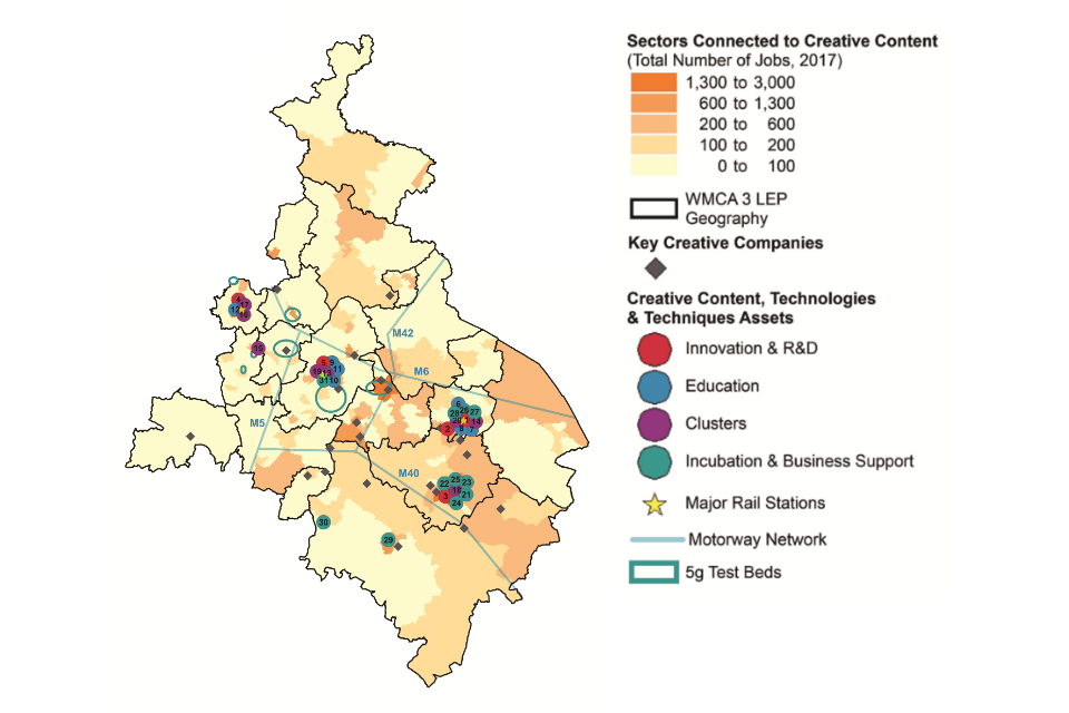 Map of the West Midlands showing the spatial distribution of assets for the Creative Content, Technologies & Techniques. (Details in the table below).