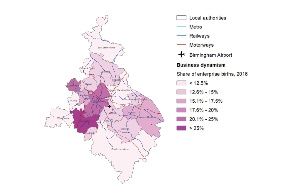 Map of the West Midlands showing the share of enterprise births in 2016.