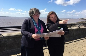 Environment Minister Dr Thérèse Coffey hearing about the £42 million Humber: Hull Frontage scheme