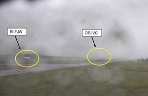 CCTV showing EI-FJW and OE-IVC over the runway