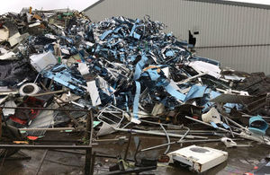 A large pile of waste at a site operating illegally