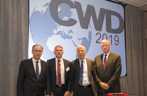 Left to right: His Excellency Ambassador Fernando Arias, Director General, OPCW; Gary Aitkenhead, Chief Executive, Dstl; Rt Hon Earl Howe, Minister of State for Defence; Hon Alan Shaffer, Deputy Under Secretary of Defense, US DOD.