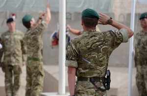 Royal Marines of 40 Commando hand over control of Main Operating Base Price to 1st Battalion The Royal Regiment of Fusiliers in Helmand province [Picture: Sergeant Barry Pope, Crown copyright]