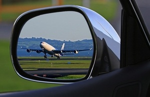 Mirror with relfection of a runway