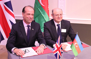 Trade Policy Minister George Hollingbery, left, with Azerbaijan's Minister of Energy, Mr Parviz Shahbazov.