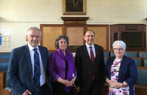 From left to right – Glyn Davies MP, Cllr Rosemarie Harris, UK Government Minister for Wales Lord Bourne and Cllr Ellen ap Gwynn