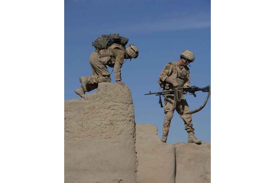Royal Marines on patrol in Sangin