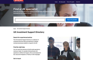 Find a specialist tool on Great.gov.uk