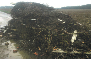 Waste left at Lodge Farm in Great Horkesley