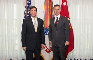 Defence Minister Mark Lancaster meets with US Secretary of the Army Dr. Mark T. Espern at the Pentagon