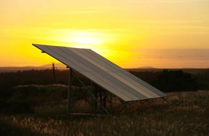 Solar panel on a rural farm.