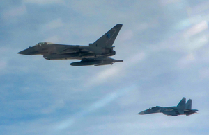 RAF Typhoon and a Russian SU-24 Fencer attack aircraft
