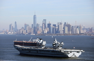 The UK's new aircraft carrier, HMS Queen Elizabeth, in New York last year. Crown copyright.