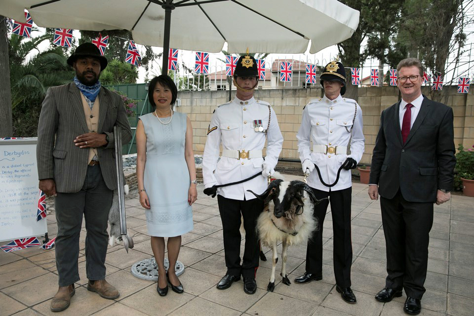The Lincolnshire Poacher and mascot of the 2nd Battalion the Royal Anglian regiment