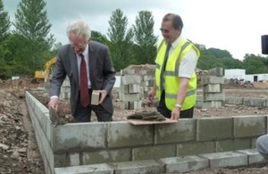 Andrew Stunell on a building site