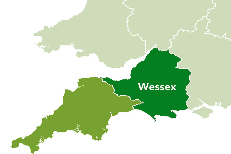 Map showing the south west region of England including the area known as Wessex