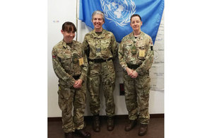 UK Directing Staff (L-R): Squadron Leader Booker (MSO), Staff Sergeant Slane (RAMC) and Sergeant James (QARANC).