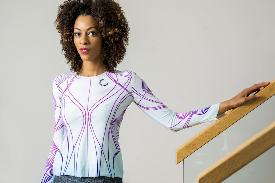 A model wears CuteCircuit's Sound Shirt.