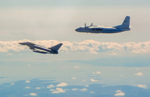 Image of a Russian transport aircraft (Antonov AN-24) and RAF Typhoon flying along the Baltic coast on 10/06/2019