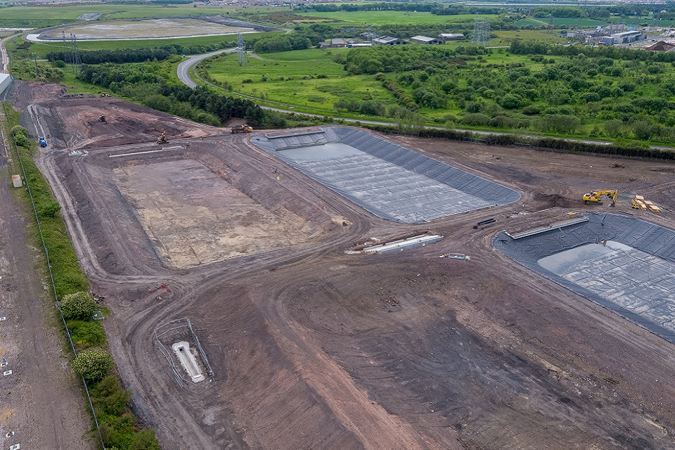 Lagoon building works at Lynemouth mine water treatment scheme