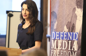 Amal Clooney addresses Foreign Office Ambassadors on defending journalists
