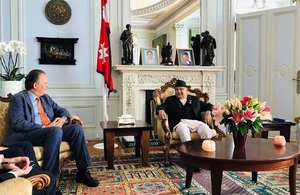 Minister for Asia and the Pacific Mark Field with Nepali PM Oli yesterday at the Nepali Embassy