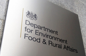 Defra logo and sign