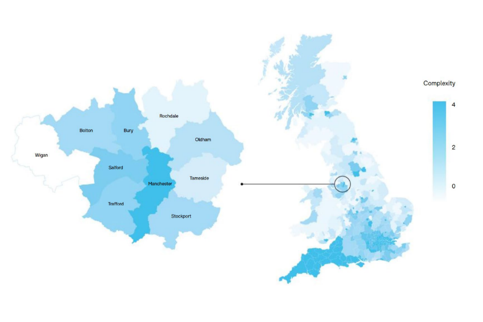 Map showing the geographical distribution of economic complexity across the UK (Figure 2)
