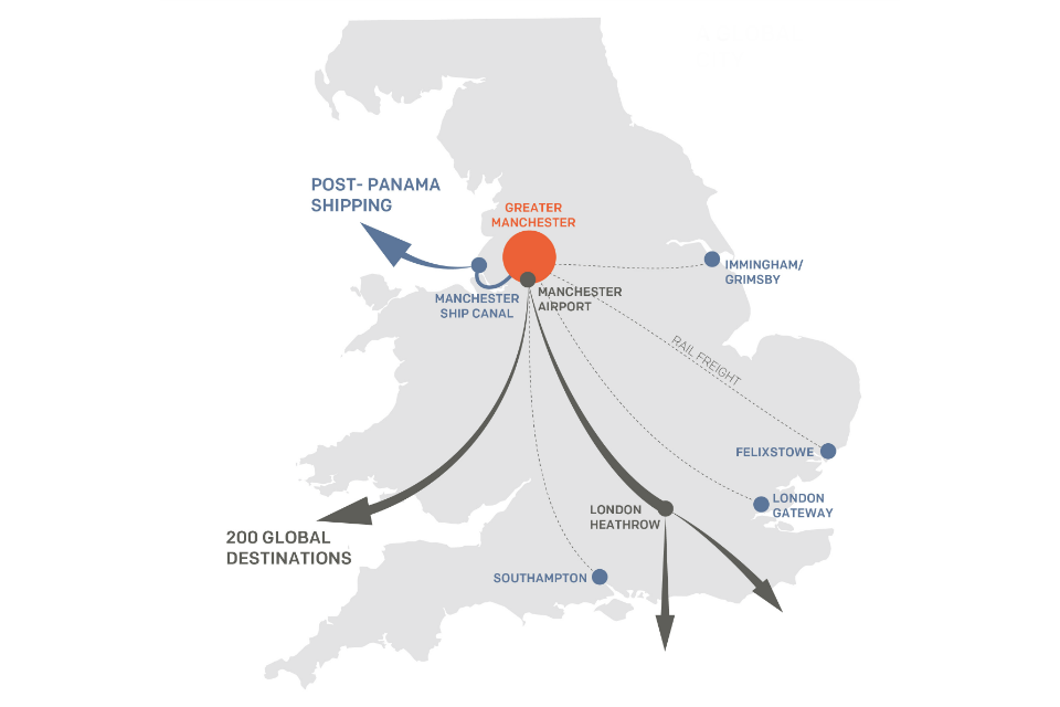 Map showing Manchester's transport network (including air, rail, road and shipping) (Figure 5)
