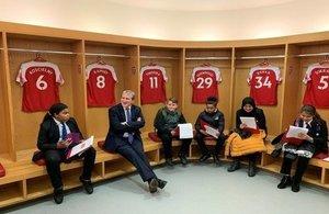 Education Secretary Damian Hinds with Sheffield Park Academy pupils at the Emirates Stadium