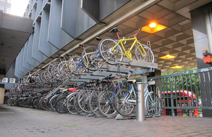 Cycles parked at a railway station.