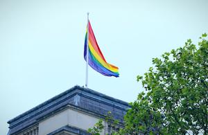 LGBT rainbow flag flies over the FCO, London