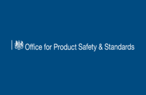White crest of HM Government logo and Office for Product Safety and Standards in white lettering on a blue background