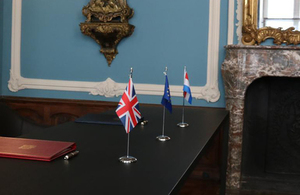Table set for the treaty signing