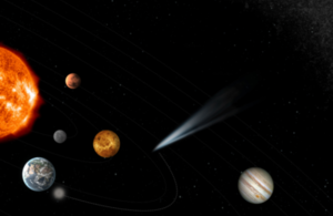 Comet flying past the planets in the solar system