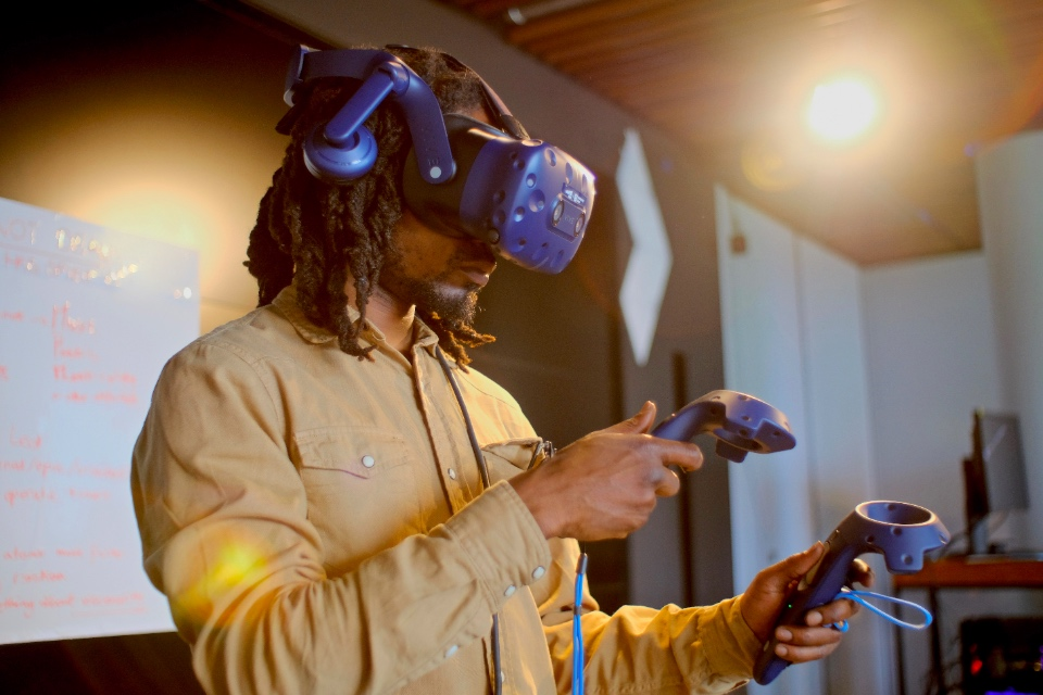 Man using immersive technology