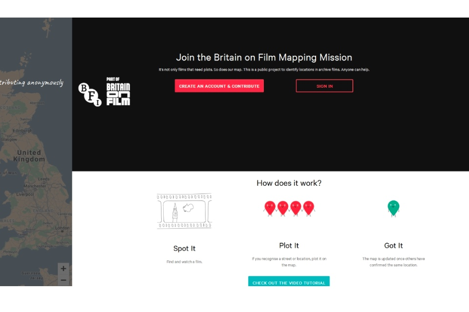 Screenshot of the BFI landing page asking people to 'Join the Britain on Film Mapping Mission'