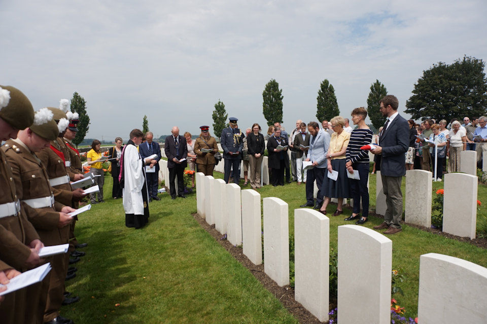 The family of Capt Kington and soldiers of The Royal Welsh participate in the rededication service at Tyne Cot Cemetery, Crown Copyright, All rights reserved