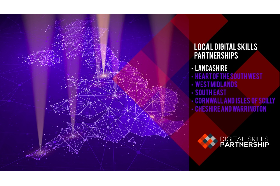 Map showing the 6 trailblazer Local Digital Skills Partnerships