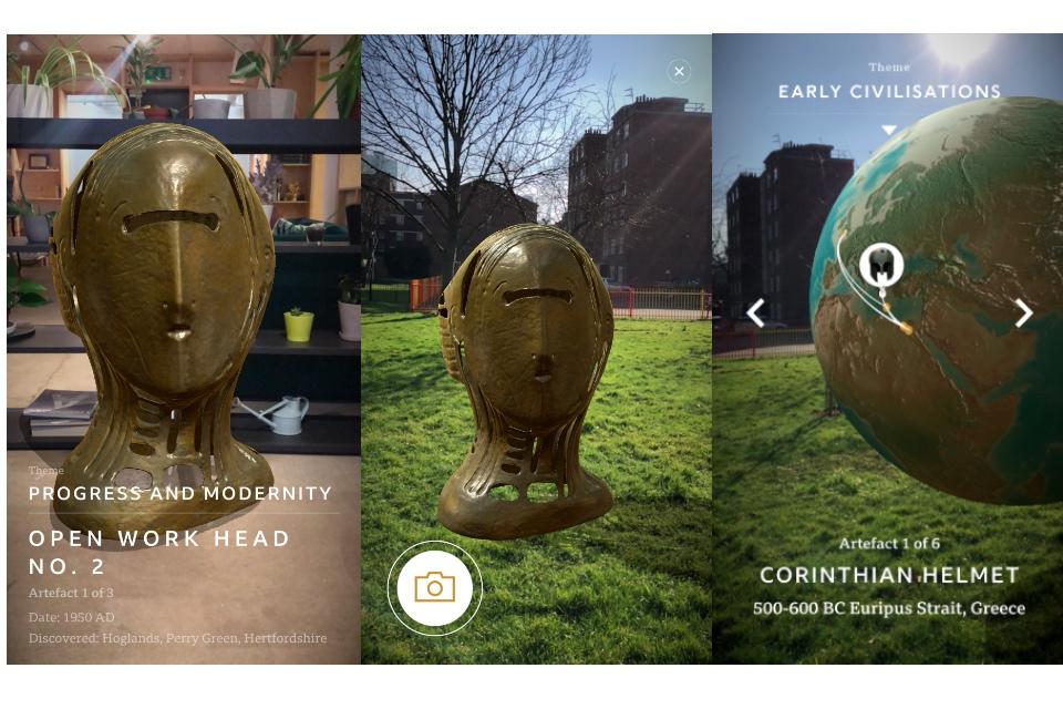 Three screenshots from the BBC's Civilisations app