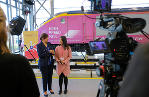 Nusrat Ghani MP pictured with Mariah Ahmed, an engineering apprentice at the National College for High Speed Rail.