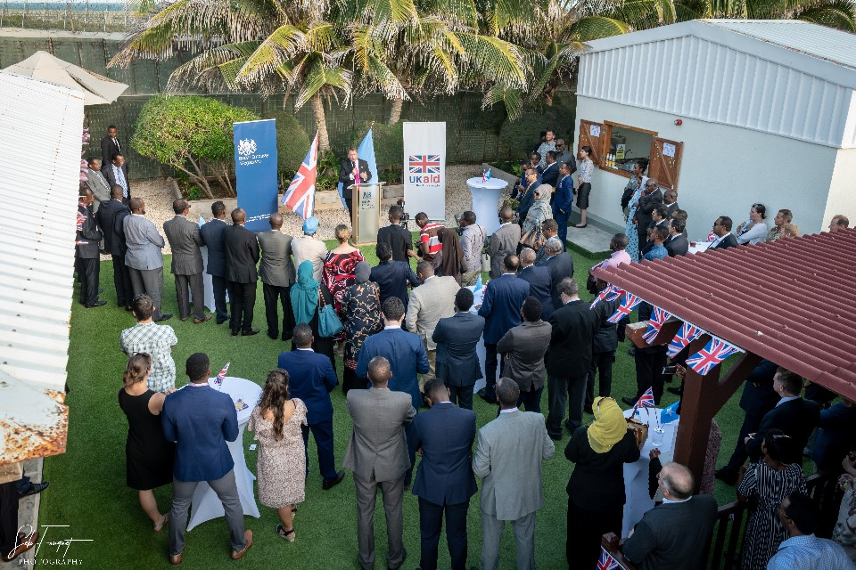 Crowd gathered at the British Embassy in Mogadishu during Queen's birthday party celebration