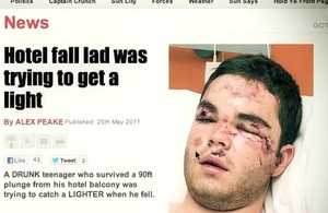 Front page of a newspaper headlining Jake's story