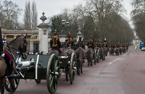Members of the King's Troop Royal Horse Artillery parade past Buckingham Palace on Constitution Hill, London (library image) [Picture: Sergeant Jez Doak, Crown copyright]